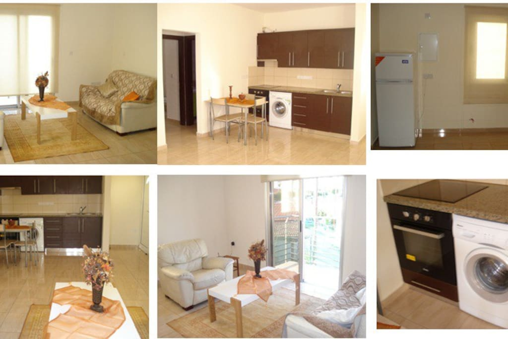 The living room and the kitchen.All the equiptments (washing machine-oven-refrigerator)