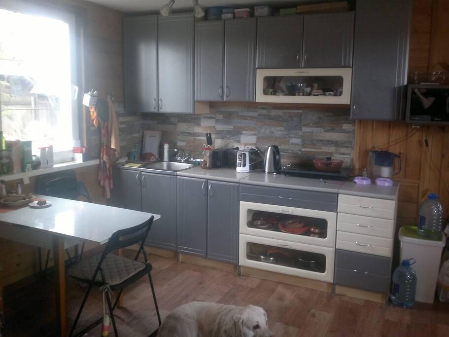 Кухня и обеденная зона, расположенные в гостиной.