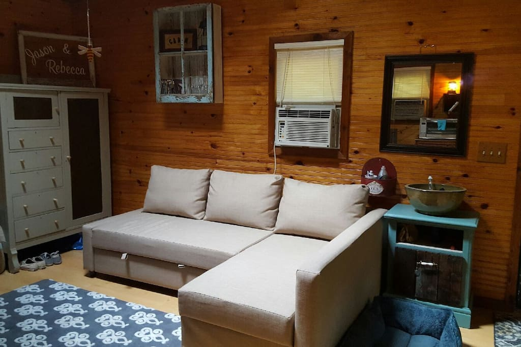 Sectional easily converts to bed