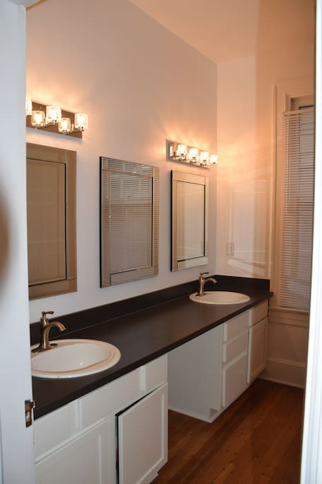 Master bath has shower/bath and double sinks.