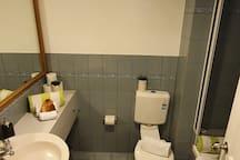 Bathroom with toilet and bath tub