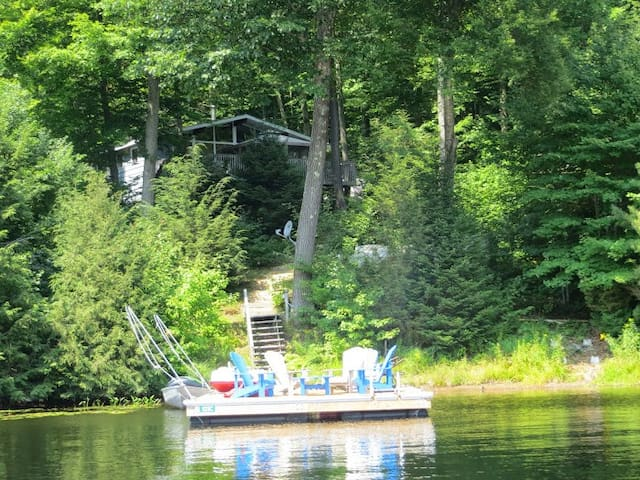 Enjoy the large dock with comfortable Muskoka chairs and great swimming