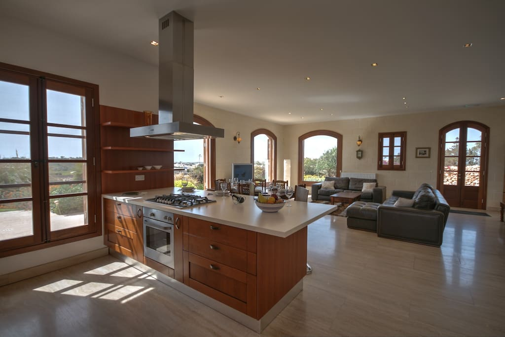 Extensive kitchen and living area