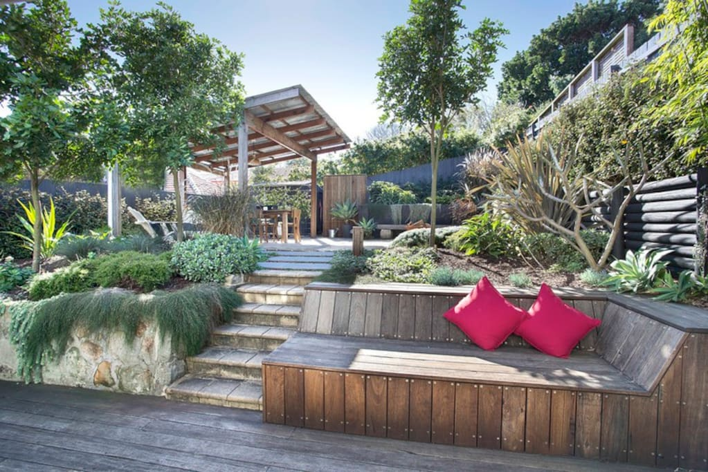 Landscaped garden and cabana