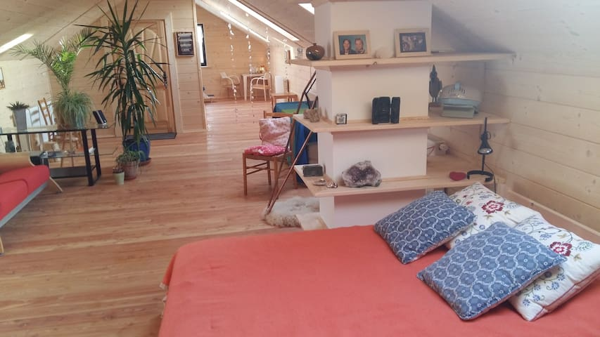 70m2 totally for you, with enough sit and sleepspace for 4 persons, inclusive luxe bathroom with shower, toilet, sink and urinoir.