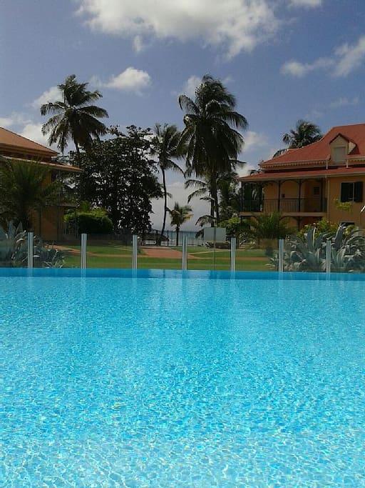 Une piscine réservée aux résidents et sécurisée.