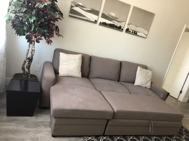 Living room: Expanded Sectional Sleeper