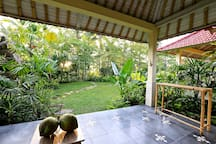 You can do yoga and meditate from big veranda or garden.