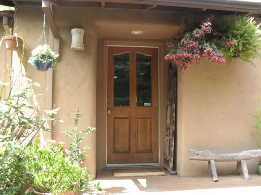 Sunny front entrance to house