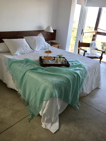 Suite 1 (main suite) room with King Bed size and Fireplace - Views to Deck outside and Ocean - Floor 1