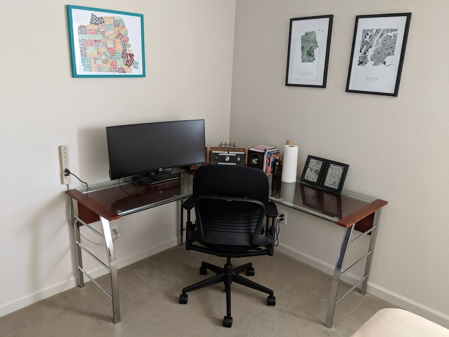 Office Desk in the Private Guest Bedroom (yes, there's a wide-screen curved monitor that you can use to hook up your laptop!).