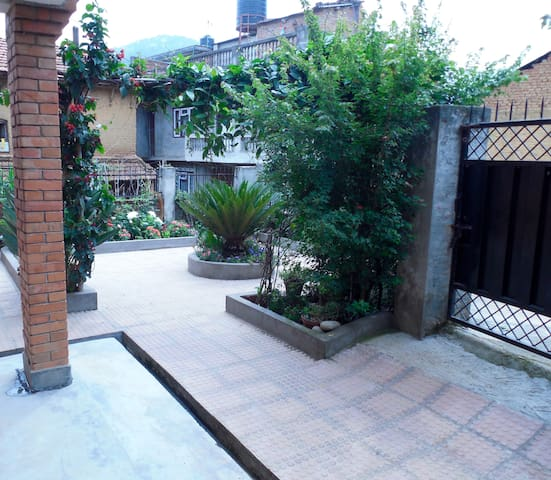The courtyard in front of our home