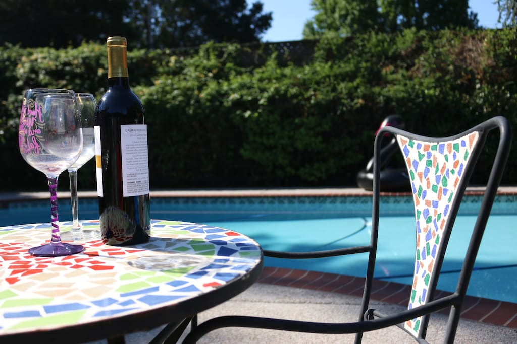 enjoy a nice glass of wine by our relaxing pool!