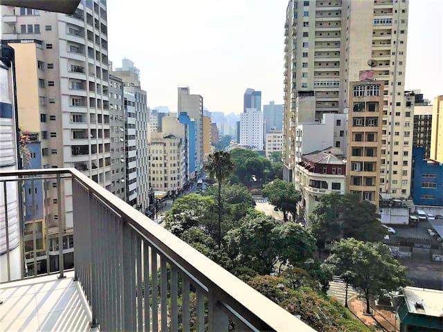 Vista do terraço do apartamento