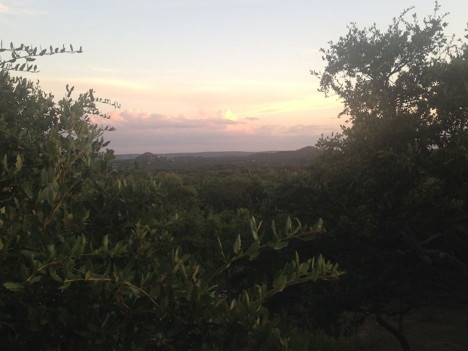 Incredible sunset view of the Hill Country from the balcony.