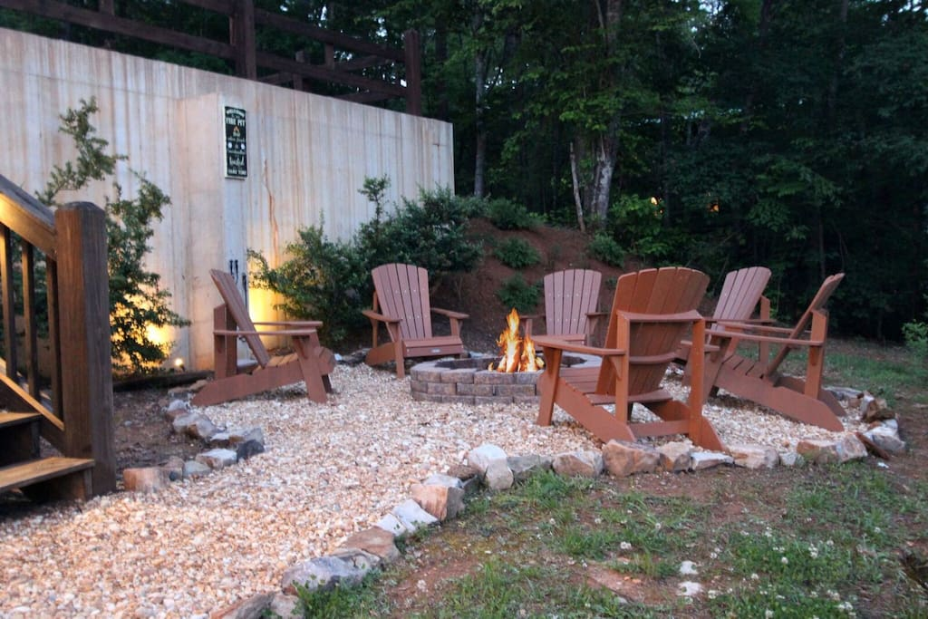inviting fire pit and relaxing lighting