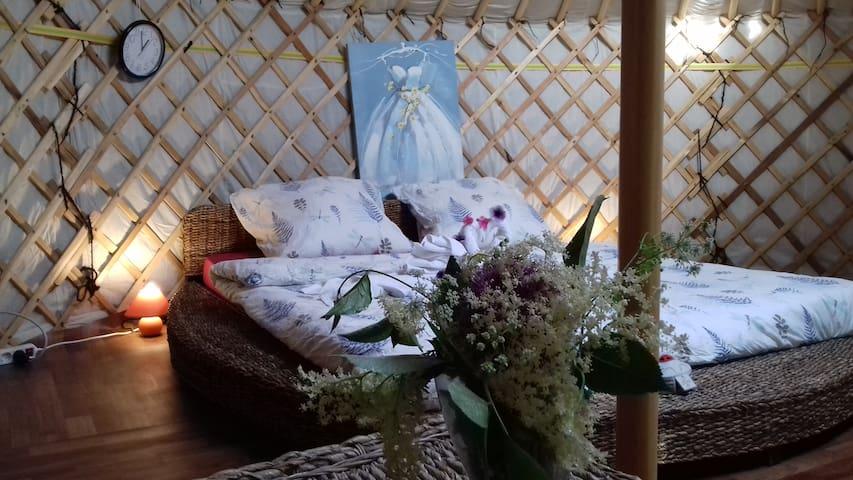 Romantic Mongolian yurt in the wild.