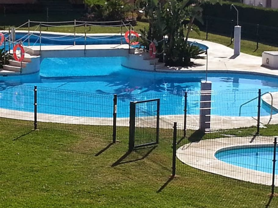 Adult and childrens pool, attended by lifeguard during opening hours