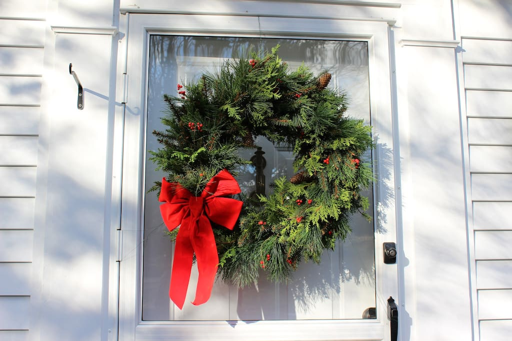 I made this wreath from greens and winterberry from around our house!