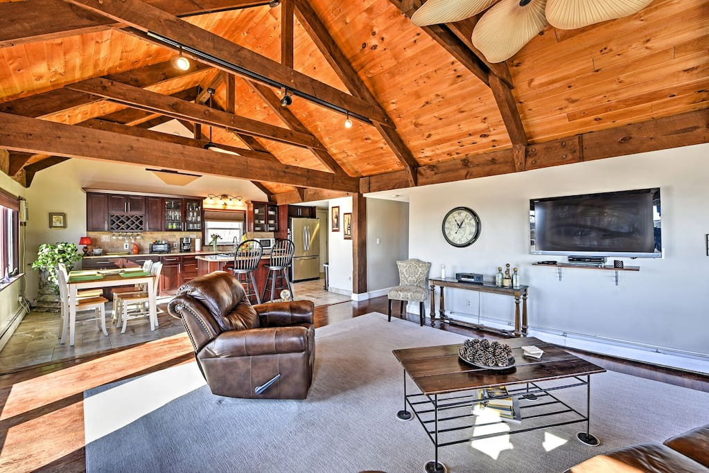The home offers a large open concept kitchen, dining area, and living room.