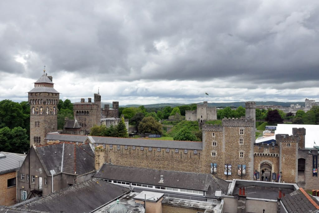 View of Cardiff Castle from balcony
