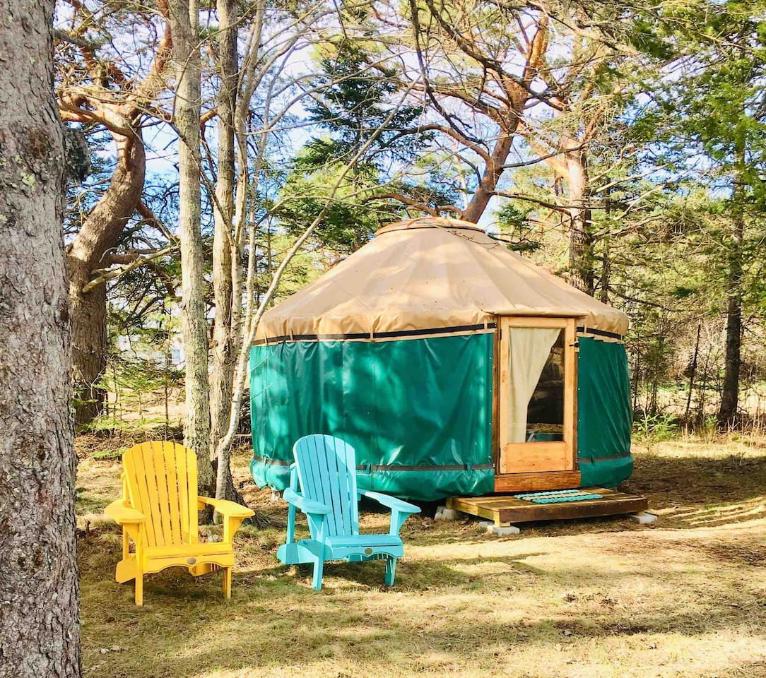 The Puffin, Rusticator Yurt, 14 ft in diameter, nestled in the pines