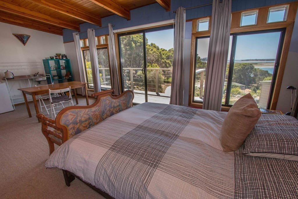 Bedroom views over Pelican Lagoon. The bed is very comfortable