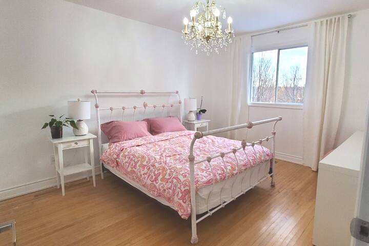 Pink Room with Desk and Queen Bed