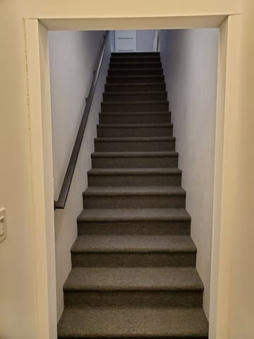 Stairs to enter private studio apartment.  These are not for everyone, although there is a gait at the top upon request, it is not 100% fall proof if you have children between 6 and 24 months old.