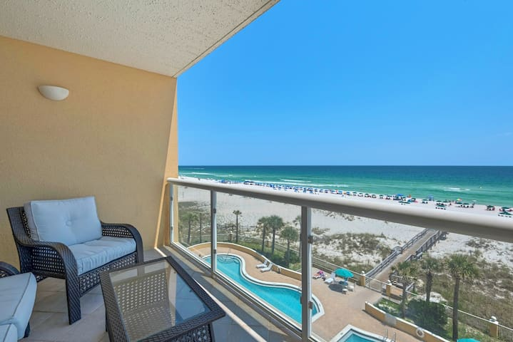 Gulf Front 4th Fl 2bed/2ba condo on Pensacola Beach. Free WiFi. Pool.Unit 406