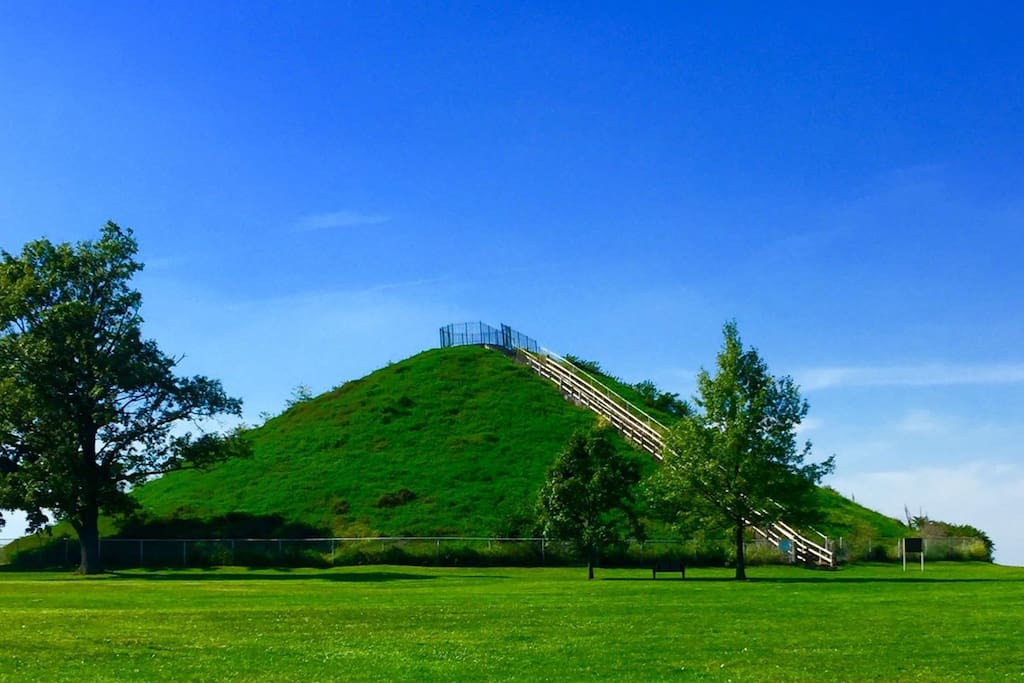 The Miamisburg Mound was built c. 2,000 years ago by the Adena culture. It stands 65 ft. high and faces the river valley. It's one of the highlights of the town. It's about 2 miles from me.