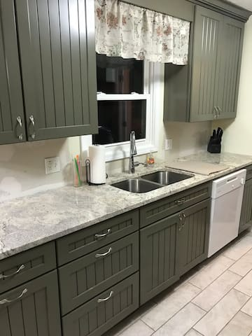 Touchless faucet and granite countertops