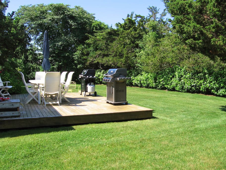 Platform deck offers seating and two grills to choose from.
