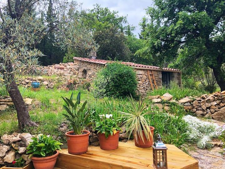 Charmante cabane en pierre en pleine nature