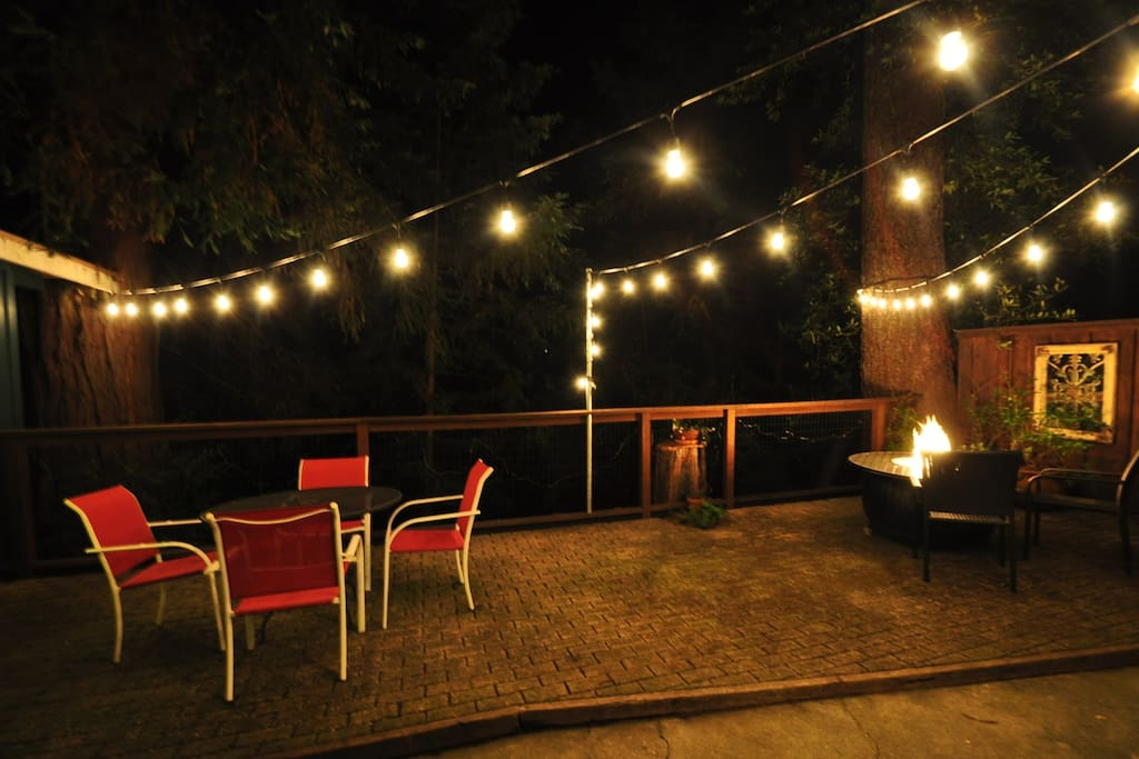 Courtyard with patio lights and firepit.