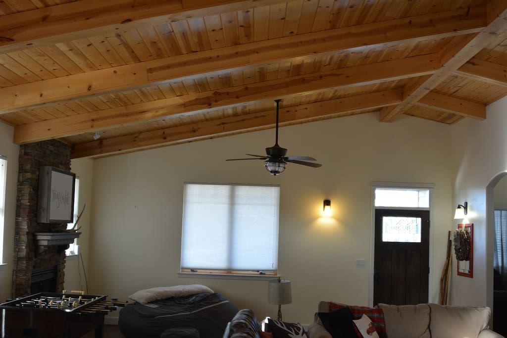 The ceiling in the great room makes you feel like you're in an old log cabin, but you wont miss out on any modern conveniences