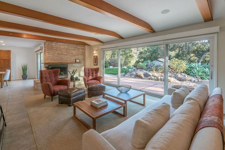 Luxurious 4 bedroom, 3 bath home in Mission Canyon featuring a redwood hot tub and splash pool!