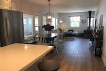 Open concept from kitchen to dining area to living room.