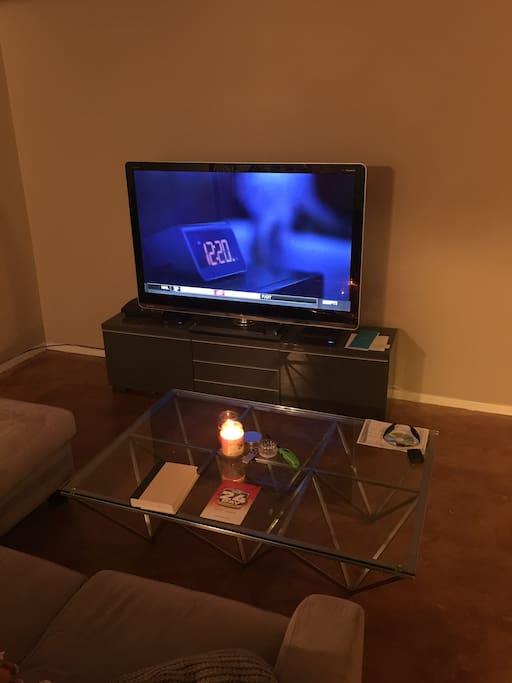 "60"" Sharp TV. Google fiber wifi/cable. Apple tv"