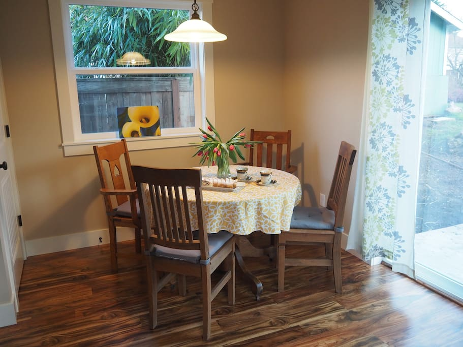 Dining nook and pantry.