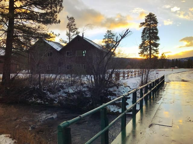 Hat Creek and the cabins in the winter.