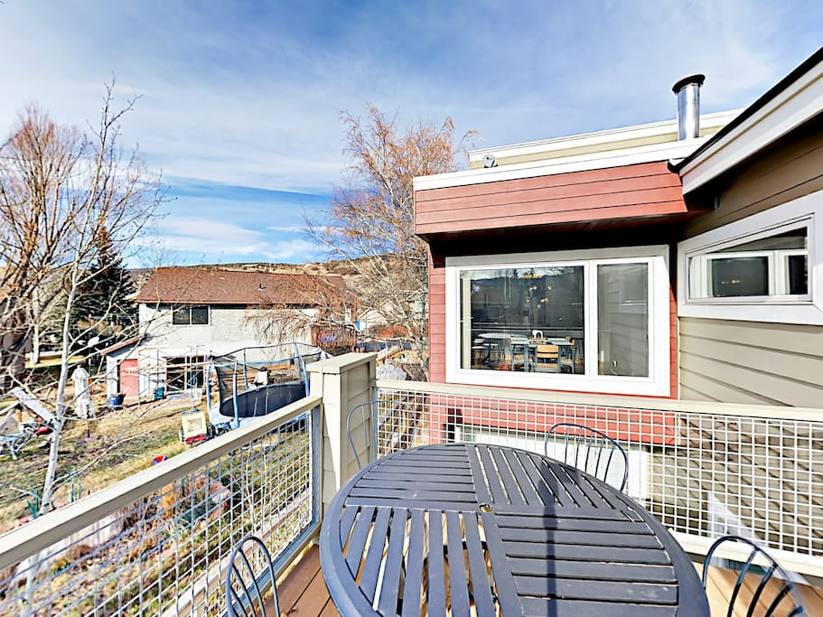 The upstairs balcony has ample seating and a BBQ grill.