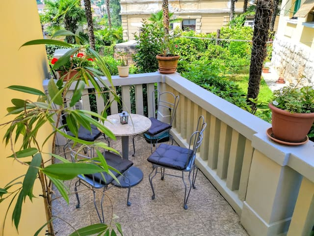 Ground floor shared patio area facing the garden to enjoy your first morning coffe...