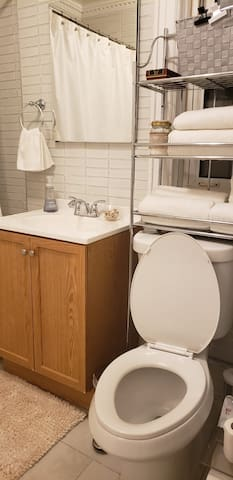 Main bathroom. Shared space. Guests can use the shower as needed