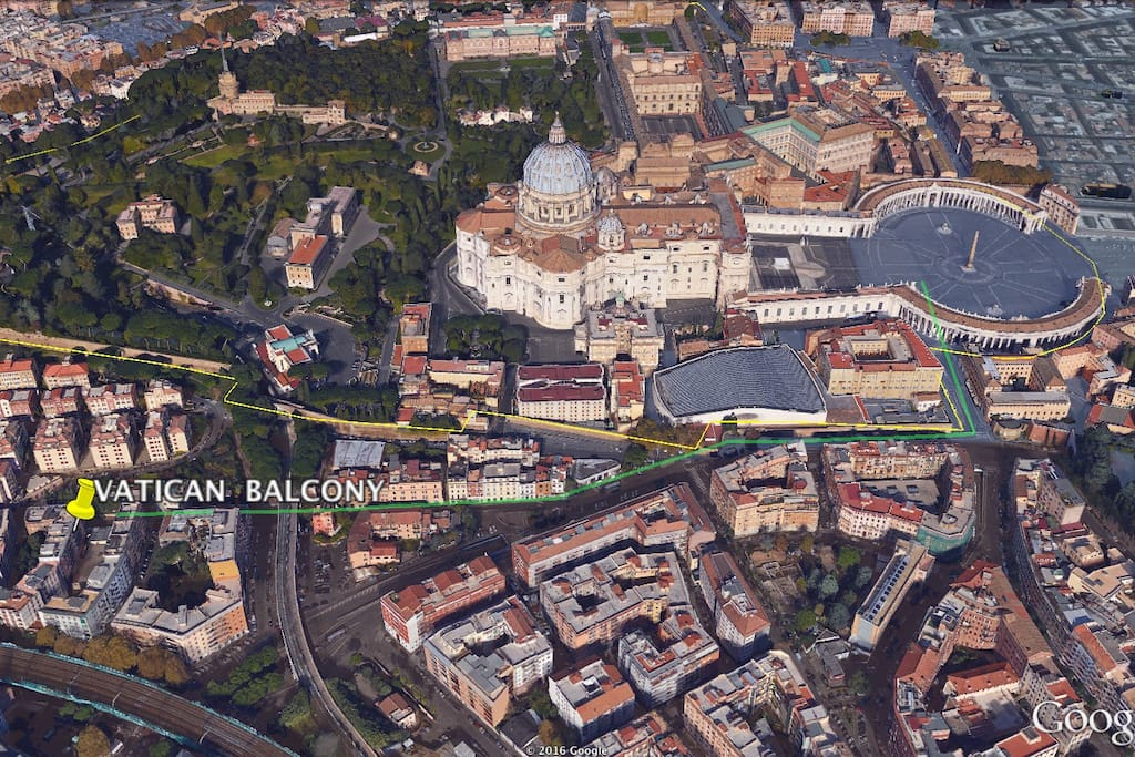 Really behind the Vatican Walls (in yellow) and near to St. Peter's Square (in green)