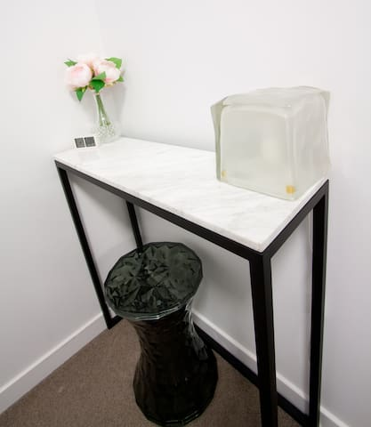 Private Bedroom - Marble dressing table with stool.