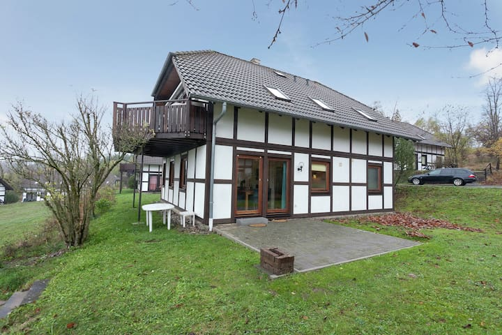 Half-timbered house in Kellerwald National Park with a fantastic view
