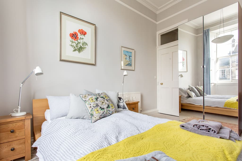 Bright sunny guest bedroom