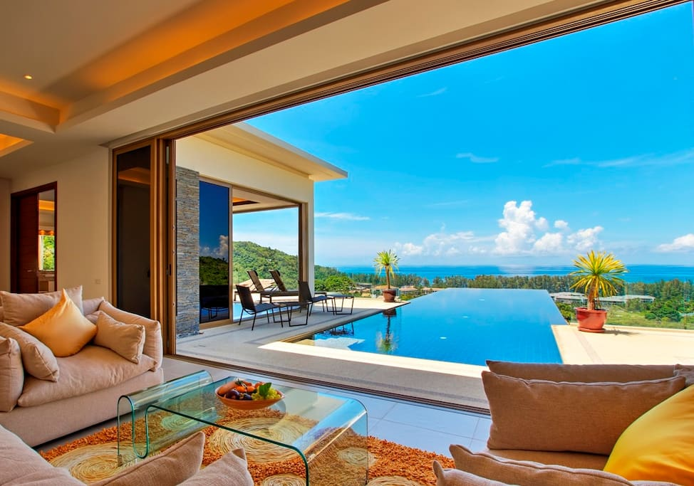 Open space poolside living and dining area with spectacular view, Hand-made Carpet