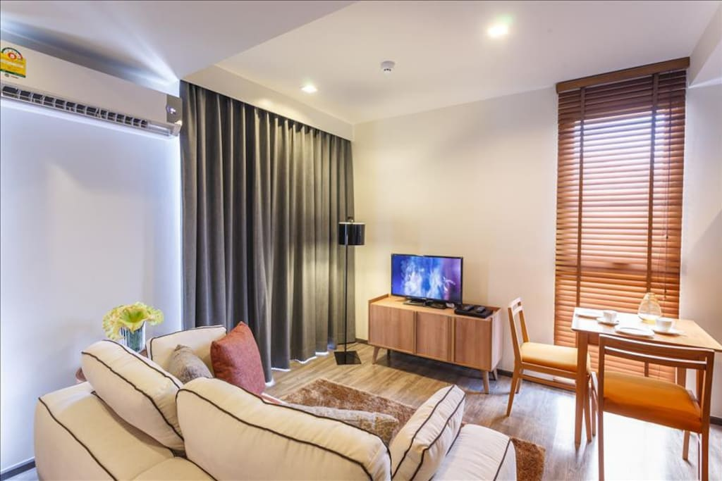 Seating area with smart TV